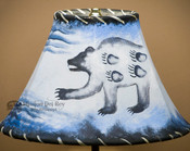 "Painted Leather Lamp Shade - 12"" -Spirit Bear"
