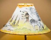 "Southwest Painted Lamp Shade 16"" -Native Wolf"
