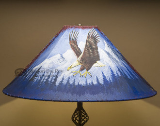 "Painted Leather Lamp Shade 24"" -Mountain Eagle"