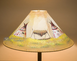 """Painted Leather Lamp Shade 24"""" -Teepees"""
