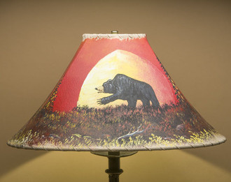 """Painted Leather Lamp Shade 18"""" -Moonlit Bear (PL97)"""