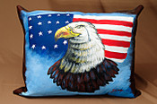 Painted Western Leather Pillow -Eagle