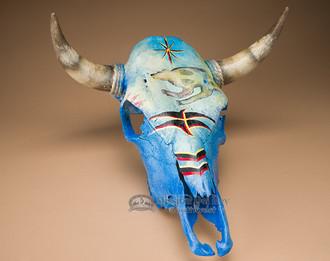 Painted Steer Skull - Spirit Bear