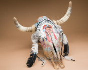 Hand Painted Steer Skull - Chief