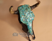 Southwestern Turquoise Steer Skull For Rustic Decor