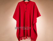 Classic Southwestern Wool Cape -Red (c19)