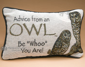 Rustic Word of Advise Pillow 12x8 -Owl