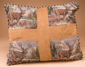 Classic Western Tapestry Pillow 16x18 -Elk