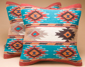 Pair of southwest woven wool pillow covers -Coconino Pattern