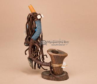 Native American Beaded Standing Antler Pipe