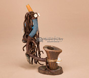 Native American Beaded Standing Antler Pipe