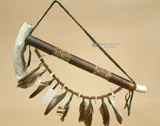 Indian Antler Pipe With Beaded Feather Drape