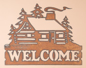 Metal Art Sign - Cabin Welcome