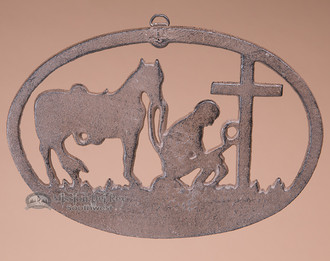 Metal Art Plaque - Cowboy & Cross