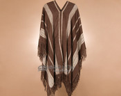 V Neck Poncho - Brown