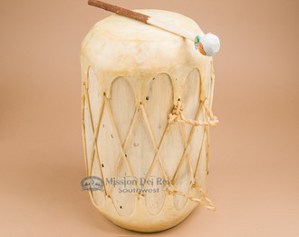 Native tree trunk cowhide log drum with light lacing
