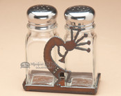 Southwestern metal Kokopelli salt and pepper shakers.