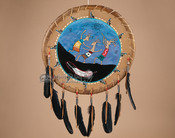 "Navajo Native American Rawhide War Shield 20"" (17)"