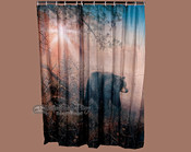 Black bear lodge shower curtain.