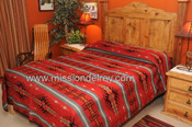 Woven bed spread featuring an outstanding southwestern or western design.