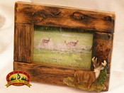 Western Faux Root Picture Frame with Deer Accent - 4x6
