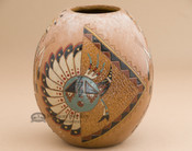Tooled Navajo Pottery Vase - Front View