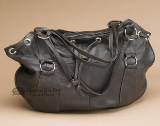 Southwestern Leather Draw String Purse - Brown