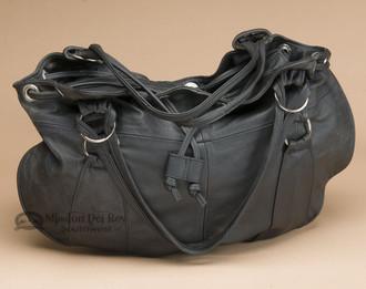 Southwestern Leather Draw String Purse - Black
