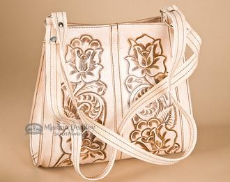 Western Tooled Cow Hide Hand Bag