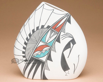 Native American Tigua Pillow Vase -Kokopelli