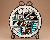 Painted Tigua Plate with Stand - Gloss