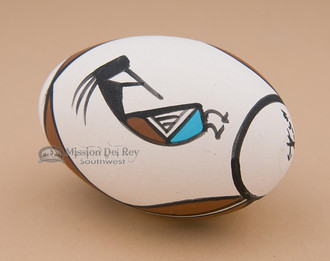 Tigua Hand Painted Pottery - Kokopelli Egg