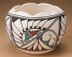 Tigua Painted Pottery Bowl - Scalloped
