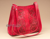 Red Southwestern Tooled Leather Purse