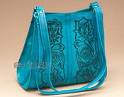 Turquoise Southwestern Tooled Leather Purse