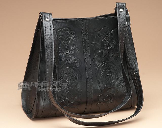 Southwestern Tooled Leather Purse -Black