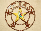 "Rustic Metal Texas Star 16"" -Kokopelli"
