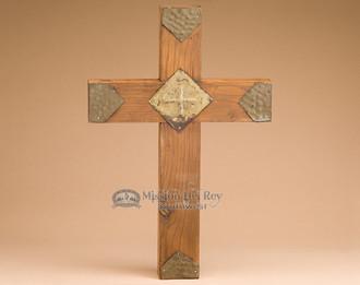 Hand Hammered Tin & Wood Cross