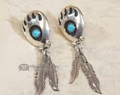Navajo Bear Paw Earrings -Turquoise