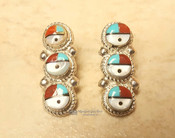 Navajo Sterling Silver Earrings -Sun Face Inlay
