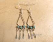 Navajo Turquoise Silver Fringe Earrings