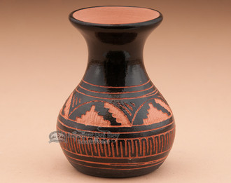 Native American Etched Pottery Vase