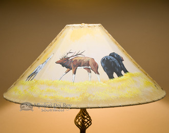 Wildlife painted pig skin leather lampshade