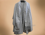 100% Brushed Alpaca Cape with Scarf - Gray