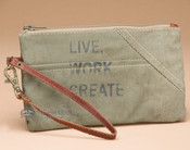 Canvas Recycled Wristlet Pouch