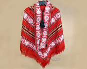 Southwest Woven Scarfed Poncho - Red