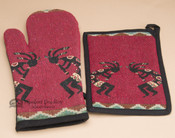 Oven Mitt & Pot Holder Kitchen Set -Kokopelli Red
