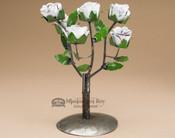 """Rustic Metal Yard Art Rose Bush 12"""" - White"""