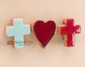 Hand Glazed Saltillo Tile Cross & Heart Magnet Set