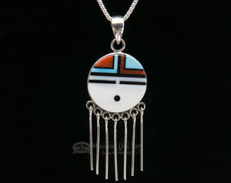 "Native American Hopi-Sun Pin/Pendant Silver Necklace 20"""